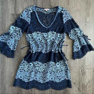 Calypso ST. Barth Blue Lace Swim Cover-up Dress M